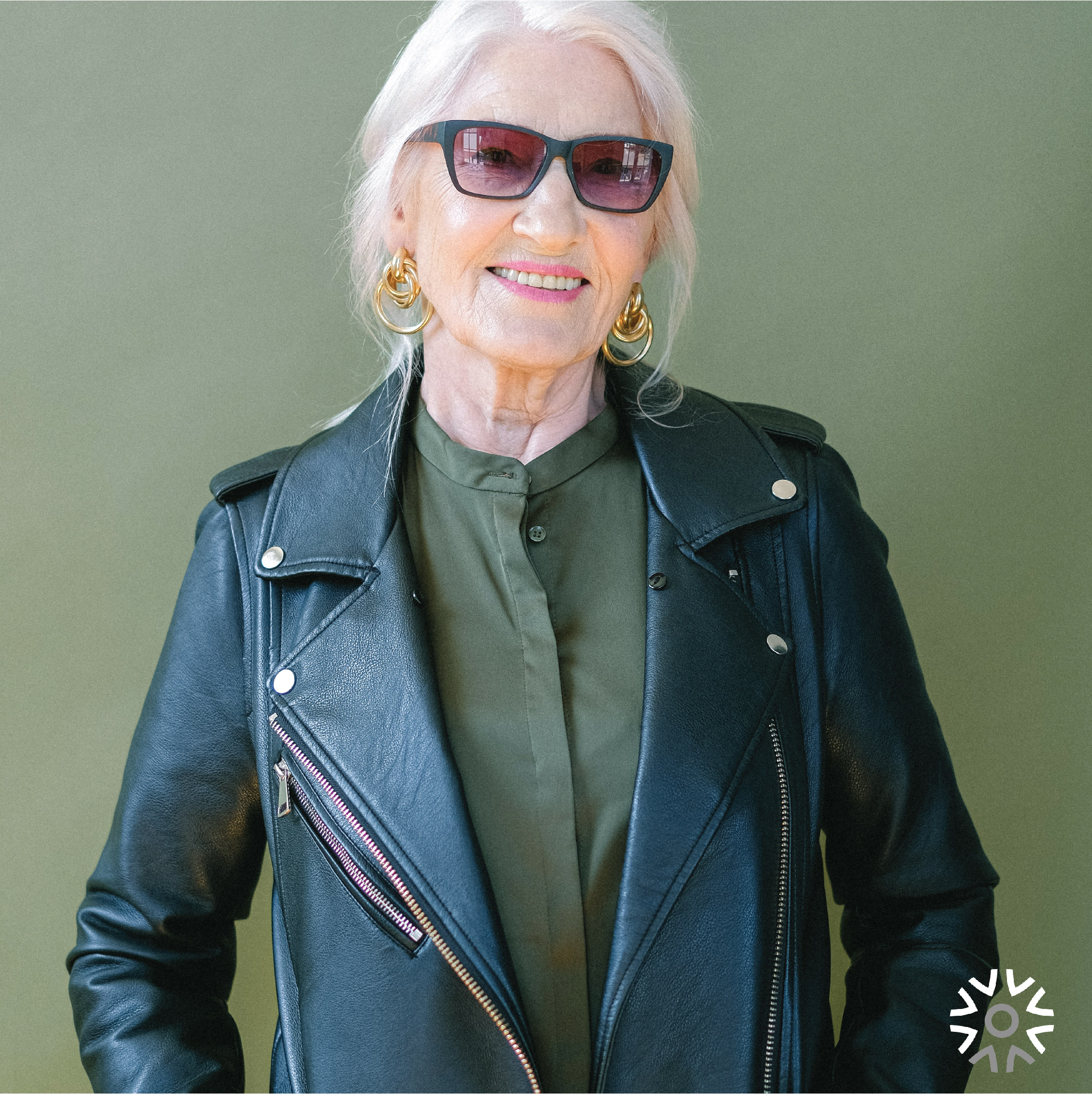 senior lady in leather jacket